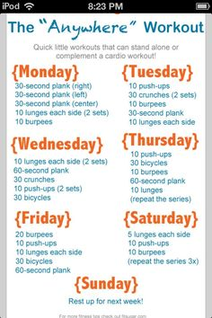 Weekly workout plan. Perfect for at home!