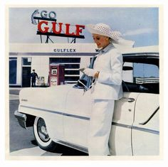 1956 Lincoln, stylish lady and Gulf