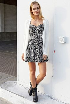 dress and knitted cardigan with combat boots