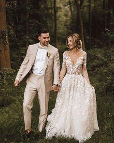 A-line Deep V-neck Exquisite Lace Long Sleeves Rustic Wedding Dress Linen Wedding Suit, Rustic Wedding Dresses, Wedding Linens, Dream Wedding Dresses, Boho Wedding Dress, Wedding Attire, Rustic Wedding Suit, Vintage Wedding Suits, Beach Wedding Suits