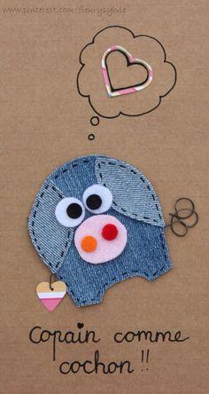 The collec '- toutpetitrien site! Jean Crafts, Denim Crafts, Diy And Crafts, Crafts For Kids, Arts And Crafts, Artisanats Denim, Denim Art, Applique Patterns, Applique Designs