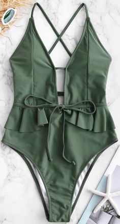 Style: Sexy Swimwear Type: One-piece Gender: For Women Material: Nylon,Spandex Bra Style: Padded Support Type: Wire Free Collar-line: Spaghetti Straps Swimsuits For Big Bust, Women's One Piece Swimsuits, Cute Swimsuits, Swimsuits For Teens, One Piece Swimsuit Flattering, One Piece Swimsuit Slimming, One Piece Swimsuit For Teens, Green Swimsuit, Ruffle Swimsuit
