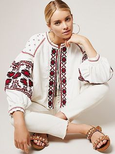 Embroidered Swingy Jacket | Vintage-inspired jacket featuring a heavyweight linen-blend fabrication and beautiful stitched embroidery. Wide sleeves and swingy silhouette. Neckline tie and hip pockets. Lined.