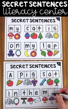 This is one of my favorite centers for students to practice beginning sounds, simple sight words, CVC words and sentence structure. Kindergarten Centers, Kindergarten Reading, Kindergarten Classroom, Teaching Reading, Guided Reading, Alphabet Games For Kindergarten, 1st Grade Centers, Differentiated Kindergarten, Kindergarten Language Arts