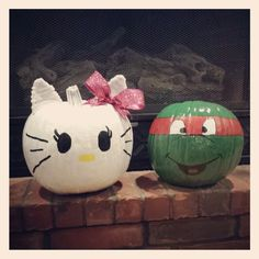 Hello Kitty and Ninja Turtle Painted Pumpkins TMNT Raph