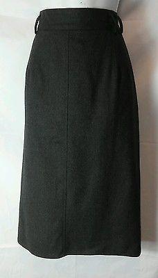 Harve Benard NEW Charcoal Gray 100% Wool Mid-Calf Boot Skirt Ladies 14