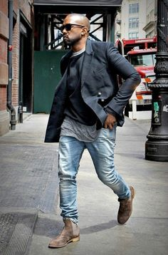 The high-low layers for men. Kanye working it #mensfashion #casual