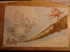 hey meag finally sketched the picture we liked of dumbo.used water color pencils and regular pencils