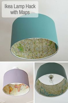 Decoupage your favourite maps onto a Rismon lamp, for a great Ikea lamp hack.