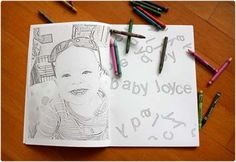 Personalized Coloring Book  When you want to send them along something personalized and extra special, try this coloring book which you can load up with pictures of them and their family members for a lot of fun. Be sure to include a picture of yourself too.