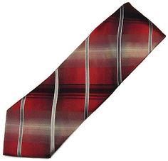 Kenneth Cole Reaction Men's Tie Red Black Silver Plaid Silk Necktie