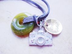Oh Snap handstamped brass necklace with patina by Lolasjewels, $26.00