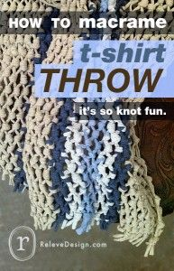 "Macrame, so not really a ""needlework"" project but a beautiful way to upcycle old t-shirts.  There is also a tutorial on this site for making t-shirt ""yarn"" to use in this and other projects."