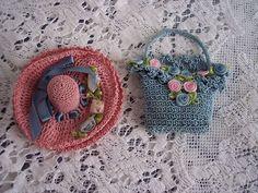 Vintage Crochet Flower Basket Sachet Pin Cushion & Thimble Holder Hat