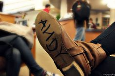 """--to own a pair of cowboy boots with """"ANDY"""" written on the bottom of one."""