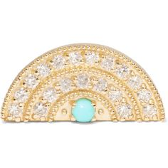 Andrea Fohrman 18-karat gold, diamond and turquoise earring (£875) ❤ liked on Polyvore featuring jewelry, earrings, gold, diamond jewelry, stud earrings, round stud earrings, turquoise jewelry and 18 karat gold earrings