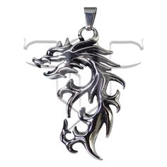 A very cool mens fire flame Draco dragon pendant made from hypoallergenic surgical stainless steel. This dragon pendant has a high polished silver in color finish with antiqued areas to bring out the detail in the flame theme casting. The pendant approximately measures 2 1/2 inches tall x 1 3/8 inches wide x 1/8 inch thick. Symbol For Inner Strength, Dragon Jewelry, Fire Dragon, Dragon Pendant, Draco, Stainless Steel, Cosplay, Pendant Necklace, Fantasy