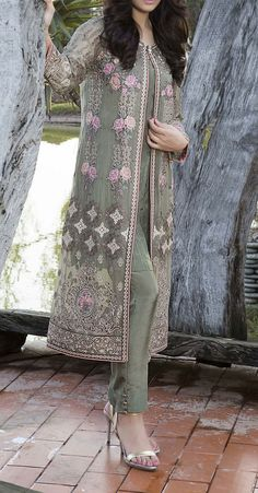 Buy Green Embroidered Chiffon Dress by Baroque 2016