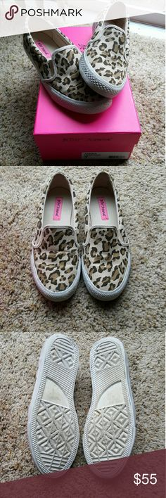 💕NEW ITEM💕Betsey Johnson Leopard slip ons Like new Betsey Johnson slip on Leopard shoes...super cute and comfy only worn a couple of times. Comes with the box and a ton of life left. Betsey Johnson Shoes Sneakers