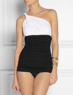 5239361015c55 NORMA KAMALI One-Shoulder Ruched Swimsuit Norma Kamali