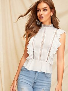 SHEIN Boho White Ruffle Lace Buttoned Back Peplum Top Cap Sleeve Solid Lace Blouse Women Mock-neck 2019 Summer Workwear Blouses Peplum Tops, Inspiration Mode, Summer Shirts, Summer Blouses, Looks Style, Cropped Sweater, Mock Neck, Fashion News, Fashion Styles