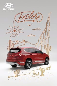 With available HTRAC All Wheel Drive, you'll be able to explore more in the all-new 2021 Hyundai SANTA FE Calligraphy. Hyundai Cars, Santa Fe, Playground, Calligraphy, Explore, Black And White, Vehicles, Videos, Autos