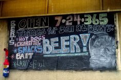 Bert's Market on Folly Beach.  Open 24 hrs, eclectic selection, draft beer in recyclable bowsers to go.