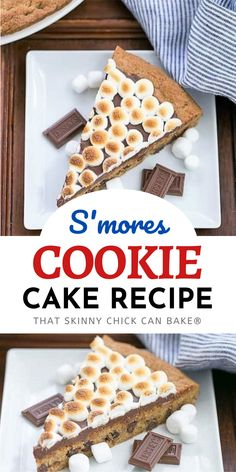 S'mores Cookie Cake - A tasty riff on the classic campfire treat is a fun summer dessert. A giant, chewy graham cookie is topped with luscious chocolate ganache and toasted mini marshmallows for an out of this world treat!
