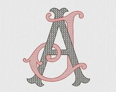 Double monograms with easy filling A & J intertwined antique style.Monograms J and A in old style. Brazilian Embroidery Stitches, Types Of Embroidery, Learn Embroidery, Japanese Embroidery, Embroidery Fonts, Vintage Embroidery, Machine Embroidery Designs, Embroidery Patterns, Hand Embroidery