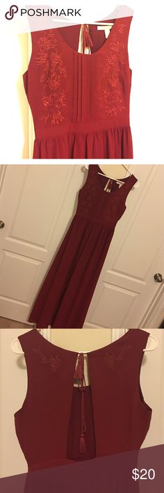 Burgundy Embroidered Maxi Dress Brand new with tags! Long, flowy maxi dress, open back and embroidery detailing❤️ Dresses Maxi