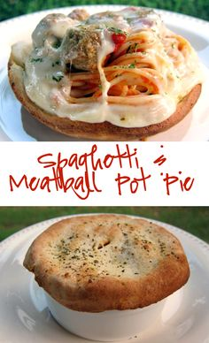 Spaghetti and Meatball Pot Pie Recipe - baked spaghetti and meatballs with a pizza dough crust - flip over for a fun way to eat pasta! Kids love this!!! Great way to use up leftover spaghetti and meatballs.