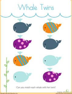 Worksheets: Matching: Whale Twins - Math concepts for when doing letter W or Jonah