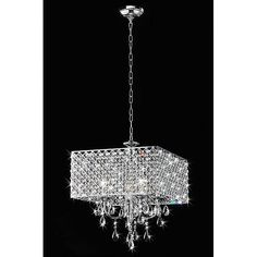 Light up your home with this elegant square chrome chandelier. This stunning piece features crystal and is designed to be used with four candelabra bulbs. The chandelier is meant for indoor use and can light rooms up to 300 square feet in size.