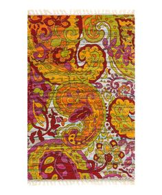 Look at this #zulilyfind! Lime & Red Aria Rug by Loloi Rugs #zulilyfinds