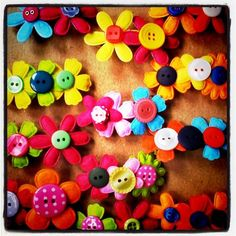 Felt crafts - flowers with buttons