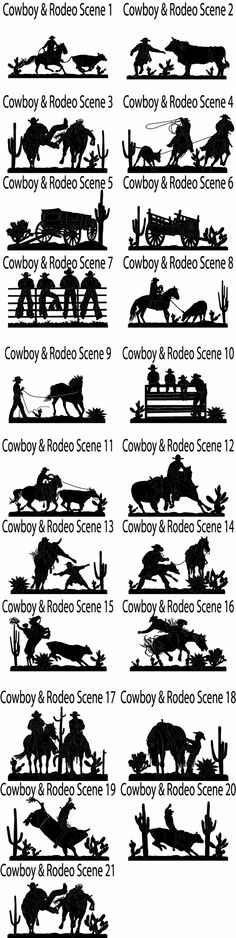 cowboy_rodeo_scenes_patterns_jh.gif 1,120×4,454 pixels Horse Silhouette, Silhouette Images, Stencil Templates, Stencils, Cowboy Crafts, Plasma Cutter Art, Pyrography Patterns, Cut Image, Wood Burning Patterns