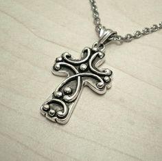 Silver cross necklace,mens cross necklace,byzantine silver cross,renaissance cross,cross symbol,orthodox cross necklace,cross pendant,cross.