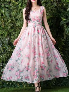 Cheap dress penny, Buy Quality dresses for wedding parties directly from China dress indian Suppliers: 2017 Organza Flowers Sleeveless Pleated White Dress 2017 Spring and Summer Elegant Vintage Dresses robe Maxi Dress Floral Print Gowns, Printed Gowns, Floral Maxi Dress, Indian Gowns Dresses, Indian Fashion Dresses, Long Gown Dress, The Dress, Vestidos Vintage, Vintage Dresses