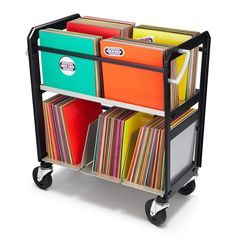 Vinyl record storage cart by Wax Rax holds up to 400 LPs.