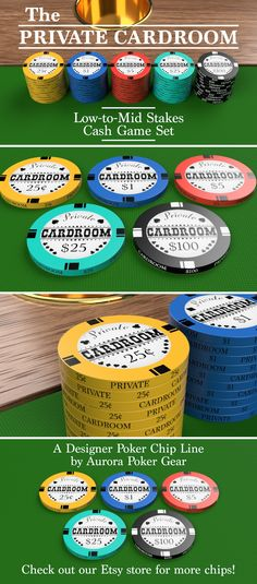 """""""Private Cardroom"""" Poker Chips - A modern chip with a hint of Western nostalgia. Click/tap on the pic and check 'em out in our Etsy shop!"""