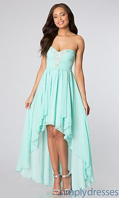For Sue: at Simply Dresses Strapless High Low Dress for Homecoming at SimplyDresses.com