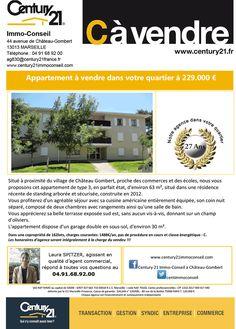 C à Vendre, un Appartement dans Votre quartier à 229.000 € !!!  Century21 Immo Conseil à Marseille Chateau Gombert - RAF'IMMO Vous Propose, un Appartement à vendre dans Votre quartier à 229.000 €  Situé à proximité du village de Château Gombert, proche des commerces et des écoles.  RAF'IMMO vous proposons cet appartement de type 3, en parfait état, d'environ 63 m², situé dans une résidence récente de standing arborée et sécurisée, construite en 2012.  Vous profiterez d'un agréable séjour…