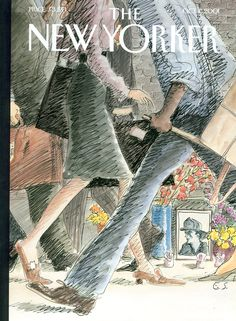 "The New Yorker - Monday, October 1, 2001 - Issue # 3953 - Vol. 77 - N° 29 - Cover ""Street Scene"" by Edward Sorel"