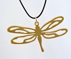 Beautiful elegant dragonfly necklace on black silk