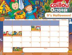 Printable Caillou Calendar – October 2016