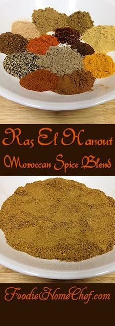 Ras El Hanout - Use this on a variety of roasted meats & poultry, vegetables, in soups & stews and even on salads. is a traditional spice mixture from Morocco generally containing anywhere from 10 to 100 spices. When you make this, just the aroma alone is Moroccan Spice Blend, Moroccan Spices, Ras El Hanout, Fish Recipes, Seafood Recipes, Tandoori Masala, Good Food, Yummy Food, Sauces