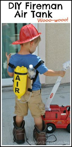 DIY Fireman Air Tank & Pretend Play made from recycled bottles by Crayon Box Chronicles. firefighter preschool, halloween costume firefighter, my daddy is a firefighter Diy For Kids, Cool Kids, Fire Safety Week, Costume Halloween, Halloween Diy, Preschool Halloween, Halloween Disfraces, Dramatic Play, Pretend Play