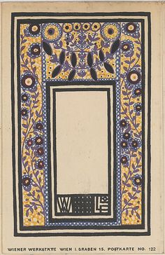 Franz Lebisch ornament card, published by Wiener Werkstätte. The Met, colour lithograph, Museum Accession, transferred from the Library. Belle Epoque, William Morris, Bauhaus, Koloman Moser, Vintage Magazine, Art Nouveau Poster, Vienna Secession, Design Movements, Principles Of Design