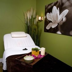 Spa Treatment Room but I like the colors and the simplicity. Massage Room Decor, Spa Room Decor, Massage Therapy Rooms, Massage Room Colors, Beauty Treatment Room, Treatment Rooms, Spa Treatments, Massage Treatment, Home Spa Room