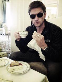 Deucalion (Gideon Emery, Teen Wolf) enjoying a rare #tea break.